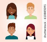 young people avatars group   Shutterstock .eps vector #610885091