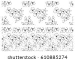 vector set of floral... | Shutterstock .eps vector #610885274