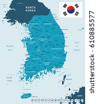 south korea map and flag  ...   Shutterstock .eps vector #610885577