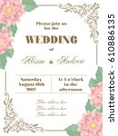 wedding invitation with flowers ... | Shutterstock .eps vector #610886135