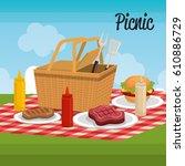 delicious picnic scene icons | Shutterstock .eps vector #610886729