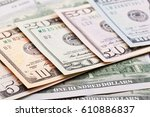 Close up view of colorful dollar banknote. Studio shot - stock photo