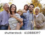 portrait of multi generation... | Shutterstock . vector #610888397