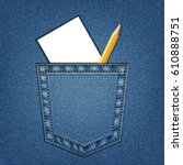 jeans pocket with pencil and... | Shutterstock .eps vector #610888751