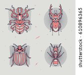 set of thin line insects icons. ... | Shutterstock .eps vector #610896365