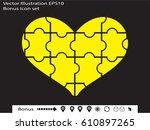 puzzle heart  icon  vector... | Shutterstock .eps vector #610897265