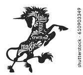 magic unicorn silhouette with...   Shutterstock .eps vector #610903349