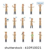 set of detective woman... | Shutterstock .eps vector #610910021