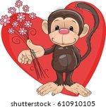 monkey with heart | Shutterstock .eps vector #610910105
