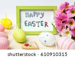 happy easter card in a wooden... | Shutterstock . vector #610910315