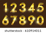 set of gold numbers.vector... | Shutterstock .eps vector #610914011