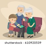 the grandson teaches... | Shutterstock .eps vector #610920539