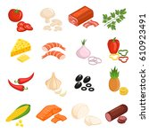 pizza ingredients icons set... | Shutterstock .eps vector #610923491