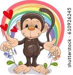 monkey with heart | Shutterstock .eps vector #610926245