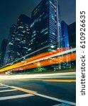 the traffic light trails of city | Shutterstock . vector #610926635