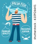 seafood cartoon poster. mighty... | Shutterstock .eps vector #610926641