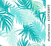 green hand drawn palm leaves... | Shutterstock .eps vector #610930895