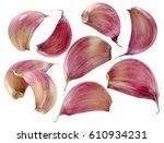 garlic cloves on white | Shutterstock . vector #610934231