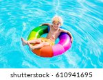 happy little boy playing with... | Shutterstock . vector #610941695