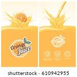 drink menu with healthy orange... | Shutterstock .eps vector #610942955