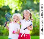 active preschool girl and boy... | Shutterstock . vector #610943099