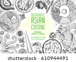 asian cuisine top view frame.... | Shutterstock .eps vector #610944491
