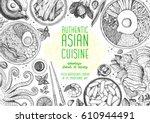 asian cuisine top view frame.... | Shutterstock .eps vector #610944491