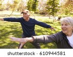 Senior Couple Doing Tai Chi...