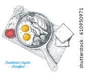 traditional breakfast in a... | Shutterstock .eps vector #610950971