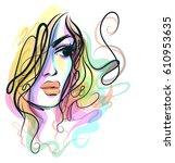 vector  stylish  original hand... | Shutterstock .eps vector #610953635