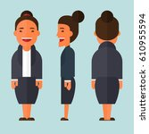 flat business woman character... | Shutterstock .eps vector #610955594