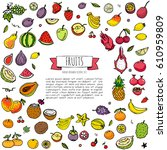 hand drawn doodle fruits icons... | Shutterstock .eps vector #610959809