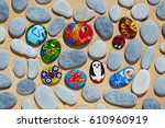 Round Pebbles Stones From Sea...
