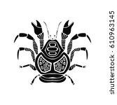 sea label. crab vector.... | Shutterstock .eps vector #610963145