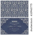 wedding invitation cards ... | Shutterstock .eps vector #610963775