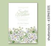 magnolia flower wedding... | Shutterstock .eps vector #610965101