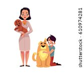 woman  female veterinarian... | Shutterstock .eps vector #610974281