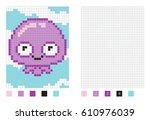 pixel jallyfish cartoon in the... | Shutterstock .eps vector #610976039