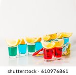 glasses with blue  green and... | Shutterstock . vector #610976861