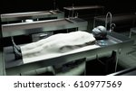 the dead alien in the morgue on ... | Shutterstock . vector #610977569