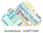 domestic violence word cloud... | Shutterstock .eps vector #610977644