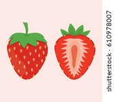 red berry strawberry and a half ... | Shutterstock .eps vector #610978007