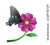 butterfly and flower isolated... | Shutterstock .eps vector #610978739