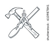 crossed hand tools for... | Shutterstock .eps vector #610987841