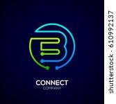 letter b logo  circle shape... | Shutterstock .eps vector #610992137