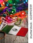 fiesta  mexican flag in focus... | Shutterstock . vector #610993559