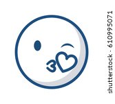 emoticon face blowing a kiss... | Shutterstock .eps vector #610995071