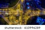 aerial top view interchange of... | Shutterstock . vector #610996289