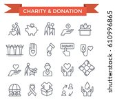 charity  donation and volunteer ... | Shutterstock .eps vector #610996865
