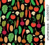 seamless vector pattern of hand ... | Shutterstock .eps vector #611005517